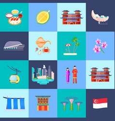 Singapore culture flat icon set vector