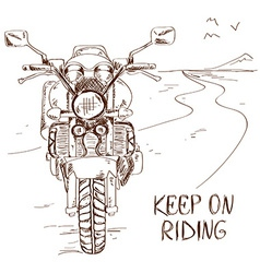 Sketch with motorbike vector image vector image