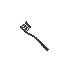Toothbrush with toothpaste silhouette icon vector