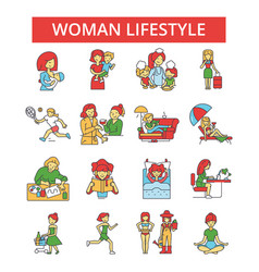 woman lifestyle thin line icons vector image