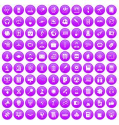 100 researcher science icons set purple vector