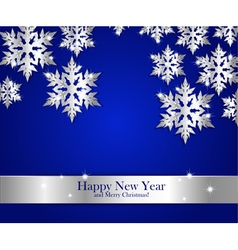 New Year greeting banner with silver snowflakes vector image