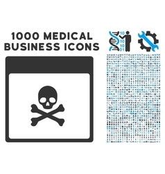 Poison skull calendar page icon with 1000 medical vector