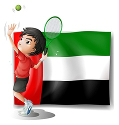 A tired athlete player in front of the uae flag vector