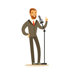 Smiling man speaking into the microphone public vector