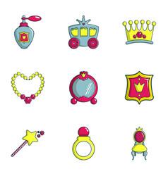 little princess icons set flat style vector image