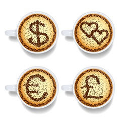 Cappuccino with money and heart signs vector