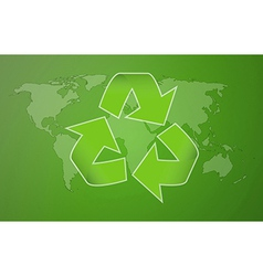 Green worldmap with symbol of recycling vector