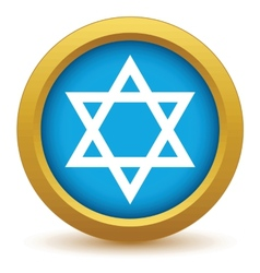 Gold judaism icon vector