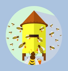 Bees and hive vector