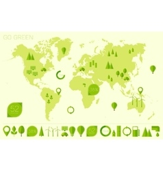 World high detailed map ecology eco icons vector