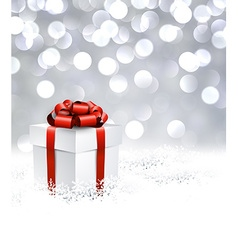 Silver christmas background with gift vector