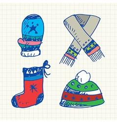 Winter doodles set vector image