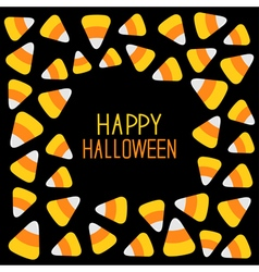 Candy corn frame Happy Halloween card Flat design vector image