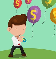 Man blow balloon dollar float color vector