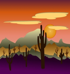 Desert wild nature landscapes with cactus vector
