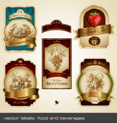 food and beverage labels vector image