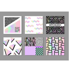 Abstract creative posters set with holographic vector