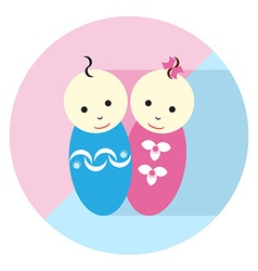 Baby Twin Flat icon vector image vector image