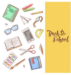 back to school hand drawn design educational vector image