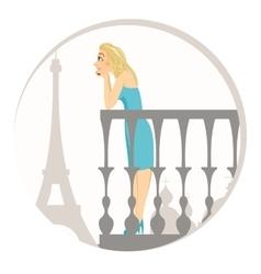 beautiful blonde woman in paris vector image