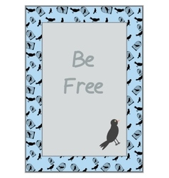 Bird and Cage on Blue Background vector image
