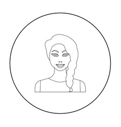 black hair woman icon in outline style isolated on vector image vector image