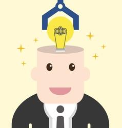 Businessman get light bulb in head with idea vector