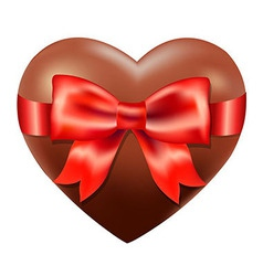 Chocolate Heart With Red Bow vector image