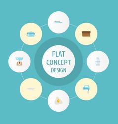 Flat icons spice casserole kitchen measurement vector