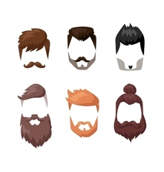 Hairstyles beard and hair face cut mask flat vector image