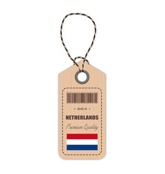 hang tag made in netherlands with flag icon vector image vector image