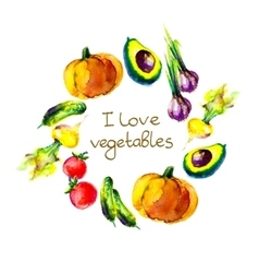 I love vegetables circle frame watercolor vector