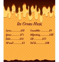 Ice cream menu or price poster on vanilla ice vector image vector image