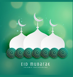 islamic eid festival design with mosque and vector image