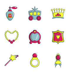 Little princess icons set flat style vector