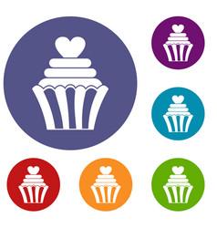 Love cupcake icons set vector