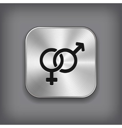 Male and female icon - metal app button vector image
