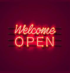 neon welcome open signboard vector image