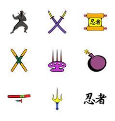 ninja icons set cartoon style vector image