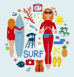 Round composition with fashionable surfers vector