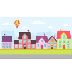 set of colorful houses in a town vector image