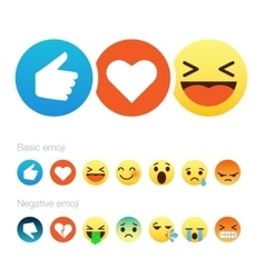 Set of cute smiley emoticons flat design vector