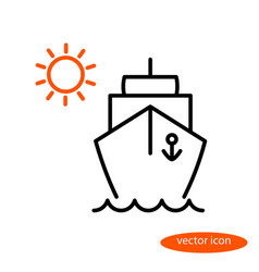 simple linear image of a ship floating on vector image vector image