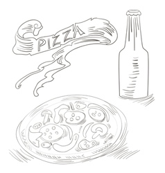 sketch with pizza and bottle of soda vector image