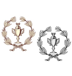 Sport trophy with laurel wreath vector image