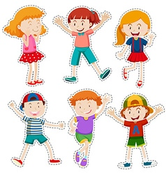 Sticker set of happy boys and girls vector image vector image