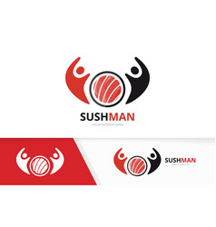 Sushi and people logo combination japanese vector
