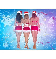 Three sexy women in santa clothing vector image