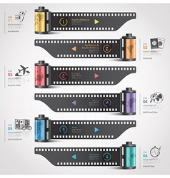 Travel and journey infographic with continent film vector